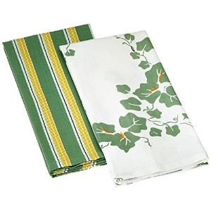 Tag 930665 Corelle Callaway Dish Towels, 18 by 26-Inch, Floral, Green, Set of 2