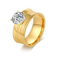 18k Gold Plated Stainless Steel Ring For Women (14,16,18) (18)