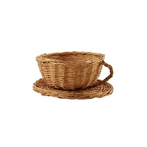 Wald Imports Brown Willow 8 Cup and Saucer Gift Basket