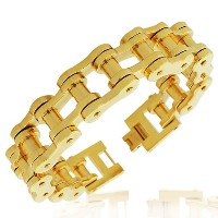 Stainless Steel Yellow Gold-Tone Link Bike Chain Large Heavy Men's Bracelet