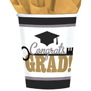 Key To Success Graduation Party Paper Cups Tableware, 9 Ounces, Pack of 50
