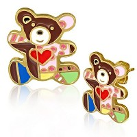 Stainless Steel Yellow Gold-Tone Large Bear Multicolor Love Heart Stud Earrings