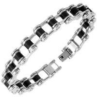 Stainless Steel Black Silver-Tone Link Bike Chain Mens Bracelet with Clasp