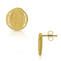EDFORCE Stainless Steel Yellow Gold-Tone Round Virgin Mary Religious Stud Earrings