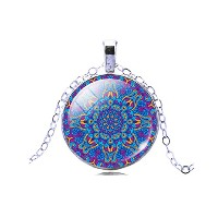 New Mandala Flower Dome Glass Pendant Silver Color Chain Necklace