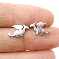dragon silhouette with wings animal shaped stud earrings