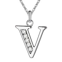Letter V Bling Zircon Silver Plated Necklace for Women