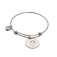 ZUOBBAO Stainless Steel Round Script Initial Disc Letters Bracelet Bangle ディスク イニシャル アルファベット ブレスレット...