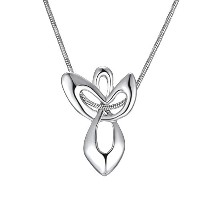 Silver Plated Guardian Angel Cross Pendant Necklaces for Women