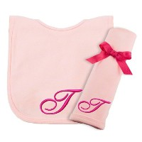 Princess Linens Embroidered Cotton Knit Bib and Burp Set - Pink, T by Princess Linens