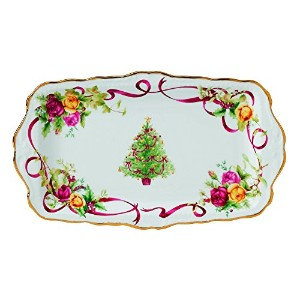 Old Country Roses Christmas Tree Sandwich Tray by Royal Albert