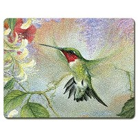 Ruby Hummingbird Naturesギフトの羽強化ガラスLarge Cutting Board