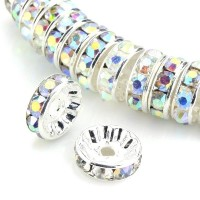 100pcs Best Quality Rondelle Spacer Beads 4mm Crystal AB Sterling Silver Plated Copper CF3-402 by...