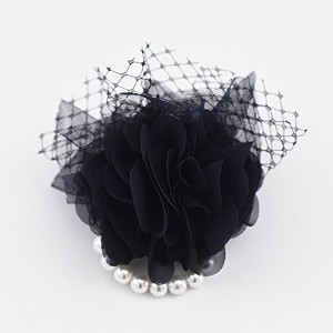 ma chere Cosette? チュールとパールのシフォンコサージュ Chaumeil tulle pearl corsage ネイビー