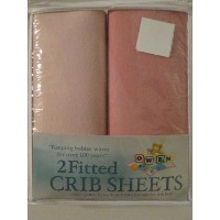 2 Fitted Cotton Knit Crib Sheet in Shades of Pink by Owen