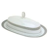 Mikasa Platinum Crown Covered Butter Dish by Mikasa