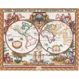 Janlynn クロスステッチキット Olde World Map 【並行輸入品】            Janlynn Cross Stitch Kit, 15-Inch by 18-Inch,...