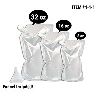 Concealable And Reusable Cruise Flask Kit - Sneak Alcohol Anywhere - 1 x 32 oz + 1 x 16 oz + 1 x 8...