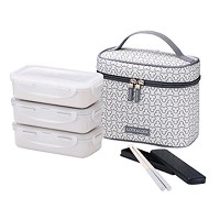 LocknLock Clover Combo Lunch Box Set with Bag & Chopsticks (Ivory) by LockandLock Lunch Box