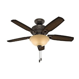 Hunter Fan Company 52232 Traditional Ambrose Bowl Light Onyx Bengal Ceiling Fan With Light, 44""