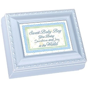 Cottage Garden Sweet Baby Boy Blue Distressedブルー小柄正方形ジュエリーと記念品ボックス