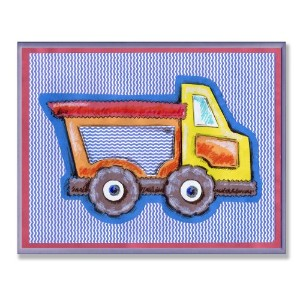 The Kids Room by Stupell Yellow and Orange Dump Truck on Blue Stripes Rectangle Wall Plaque by The...