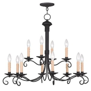 Livex Lighting 4447-04 Heritage 12-Light Chandelier, Black by Livex Lighting