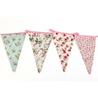 Vintage Floral Fabric Bunting Shabby Chic Party Weddings Girls Bedroom 12 Flags by The Home Fusion...