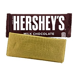 Foil Wrapper GOLD ALLIGATOR, 6 X 7.5, For Over Wrap 1.55 OZ Hershey Bar, 100 in a pack by Foilman