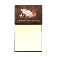 Caroline 's Treasures Welcome To Theファームwith the pig and chicken詰め替え可能Sticky NoteホルダーまたはPostit...