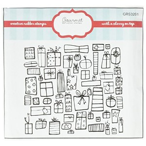 Gourmet Rubber Stamps GRS3201 Cling Stamps, 6.5 x 6.5, Presents Background, Red by Gourmet Rubber...