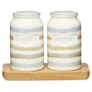 Kitchencraftクラシックコレクションvintage-styleセラミックSalt and Pepper Shakers with木製トレイ