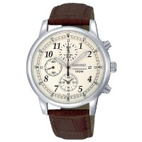セイコー Seiko Men's SNDC31 Classic Brown Leather Beige Chronograph Dial Watch 男性 メンズ 腕時計 【並行輸入品】
