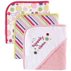 Luvable Friends 3-Pack Embroidered Sayings Hooded Towels - Pink [並行輸入品]