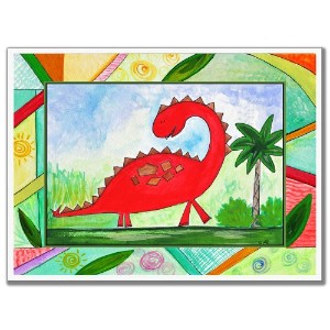 The Kids Room by Stupell Red Dinosaur Rectangle Wall Plaque by The Kids Room by Stupell