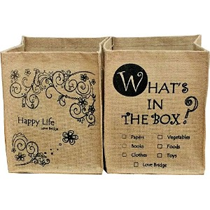 Love Bridge 麻 収納ボックス WHAT'S IN THE BOX & Happy Life 2個セット 花柄&英字ストッカー ジュート