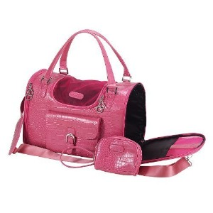 Animaテつョ Dog Cat Faux Crocodile Pattern Pet Carrier - Pink - Medium by Anima