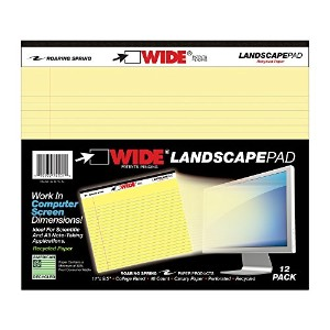 Landscape Format Writing Pad, College Ruled, 11 x 9-1/2, Canary, 40 Sheets/Pad (並行輸入品)
