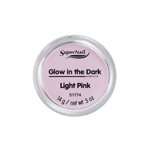 SuperNail Glow in the Dark Acrylic Powder - Light Pink - 0.5oz / 14g