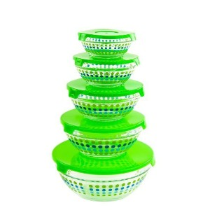 All Purpose Glass Bowls and Food Storage Containers 10 Pcs Set - Glass Lunch Bowls Set with Snap...