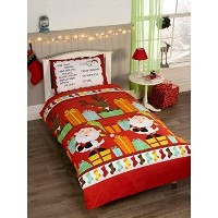 Father Christmas Kids Santa Presents Xmas Quilt Duvet Cover and Pillowcase Bedding Bed Set, Multi...