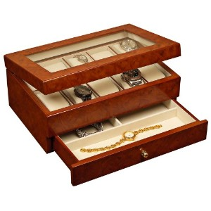 Mele & Co. Peyton Glass Top Wooden Watch Box (10 Sections, Burlwood finish) by Mele & Co.