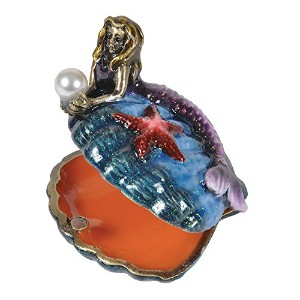 Mermaid and Sea Shell Trinketボックスwith Crystals