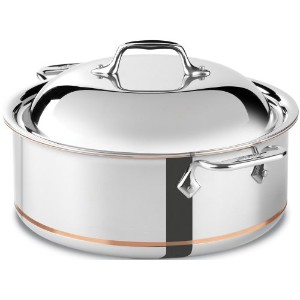 All-Clad 650618 SS Copper Core 5-Ply Bonded Dishwasher Safe Round Roaster/Cookware, 6-Quart, Silver...