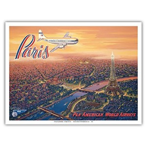 Overパリ、フランス – Pan American World Airways – エッフェル塔 – Boeing 377 Stratocruiser – ヴィンテージスタイルAirline旅行ポス...