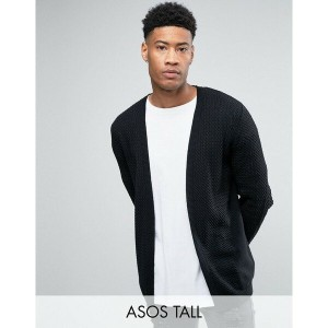 エイソス メンズ カーディガン アウター ASOS TALL Longline Open Cardigan in Cable with Rib Detail Black