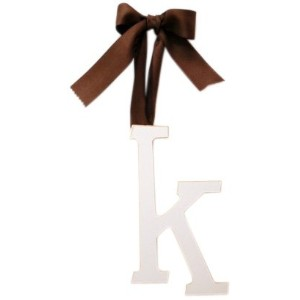 New Arrivals Wooden Letter K with Solid Brown Ribbon, Cream by New Arrivals