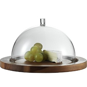 Jenaer Glas Concept Storage Collection Cheese Dome with Acacia Plate, 9.5-Inch [並行輸入品]