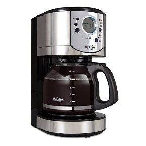 Mr. Coffee 12-Cup Programmable Coffee Maker with Brew Strength Selector, Brushed Chrome Accents,...
