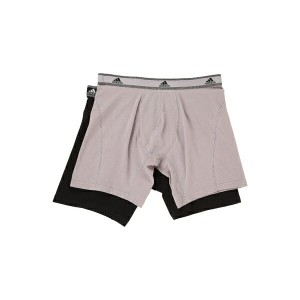 アディダス メンズ ブリーフパンツ アンダーウェア Relaxed Performance Stretch Cotton 2-Pack Boxer Brief Light Onix Black